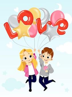 Un ragazzo e una ragazza allegri stanno tenendo gli aerostati di aria. stile piatto.