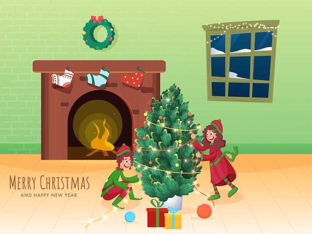 Allegro ragazzo e ragazza albero decorato da illuminazione ghirlanda e caminetto in interni