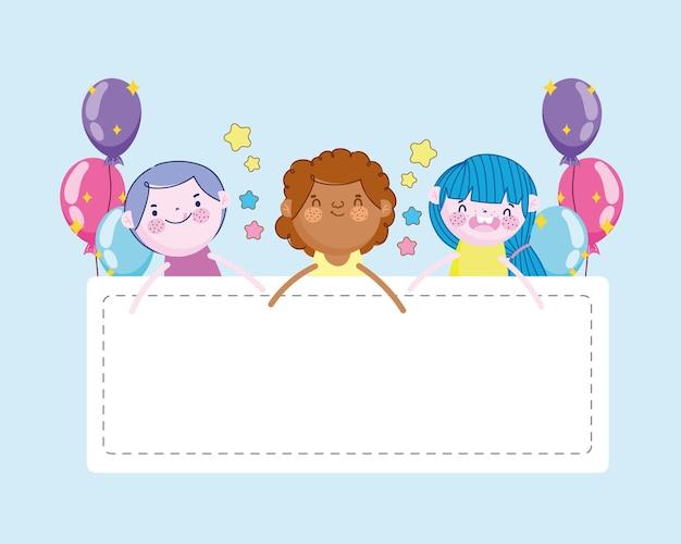 Ragazzo allegro e ragazze con festa di palloncini e banner, illustrazione dei bambini