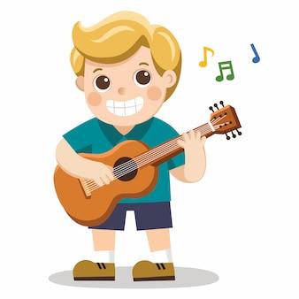 Un ragazzo allegro che suona la chitarra e canta allegramente. isolato
