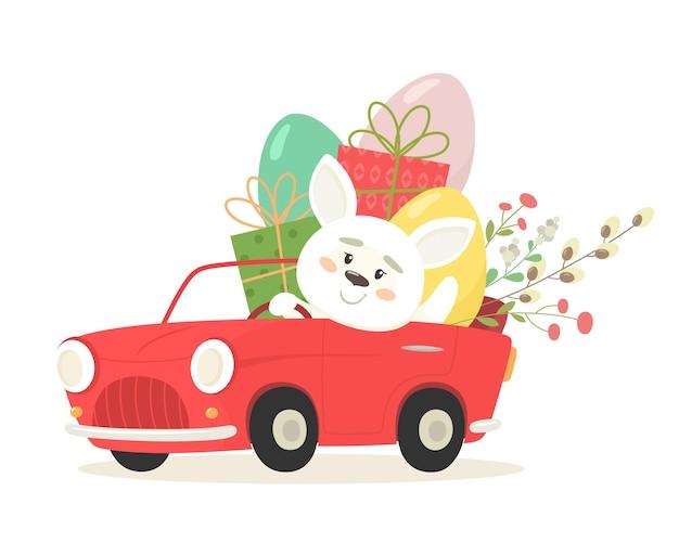 Coniglietto allegro in una macchina con uova e regali. buona pasqua.