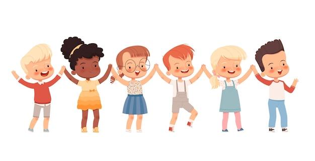 Bambini allegri si tengono per mano in una danza rotonda. amicizia dei bambini. isolato su uno sfondo bianco.