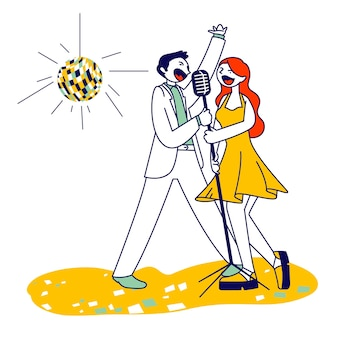 Coppie allegre che cantano la canzone con i microfoni nel bar karaoke o in discoteca con lo stroboscopio. cartoon illustrazione piatta