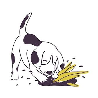 Cane allegro che scava terreno vicino alla pianta coltivata. cucciolo impertinente divertente o cagnolino isolato su priorità bassa bianca. comportamento disobbediente dell'animale domestico. illustrazione vettoriale disegnata a mano colorata