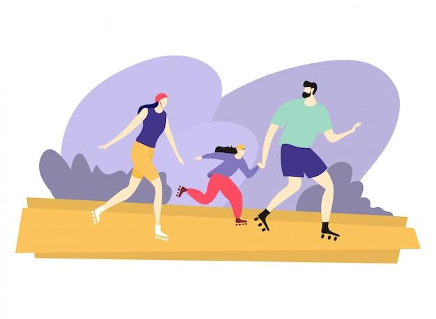 Il pattino di rullo allegro di conduzione familiare, la madre felice del padre del carattere e la figlia camminano l'area del parco della città su bianco, illustrazione.