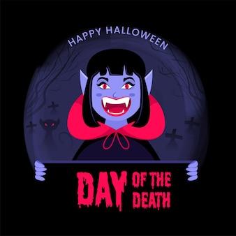 Vampiro femminile allegro o mostro che presenta il testo gocciolante del giorno della morte