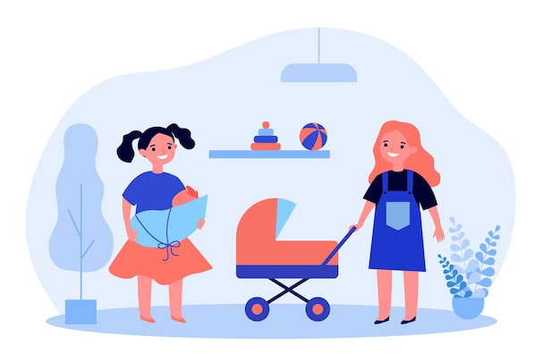 Ragazze allegre che giocano bambole. gioco di ruolo, mamma che recita, passeggino giocattolo. illustrazione vettoriale piatto