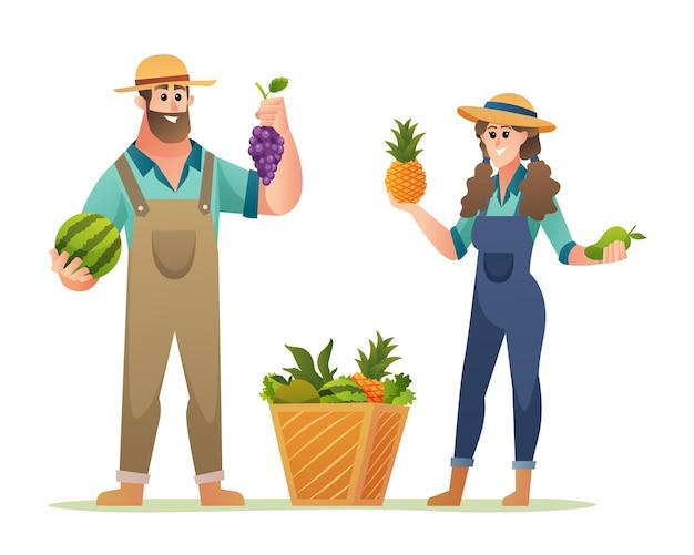 Allegri personaggi maschi e femmine di contadini che tengono frutti