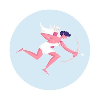 Uomo allegro cupido con le ali che indossa toga bianca che vola in cielo con l'arco