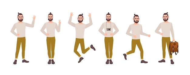 Uomo allegro con acconciatura alla moda e barba in varie posture.