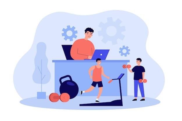Uomo allegro che lavora ed esercita in ufficio fitnessfriendly isolato