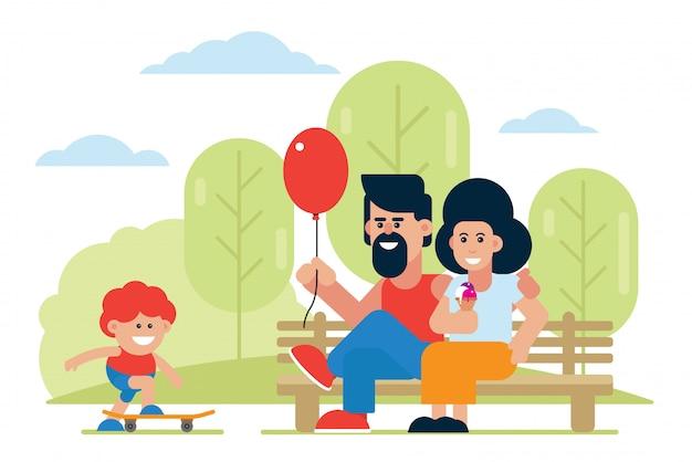 Genitori allegri con l'aerostato e il gelato che esaminano il pattino di guida del figlio. famiglia positiva che passa insieme illustrazione di tempo