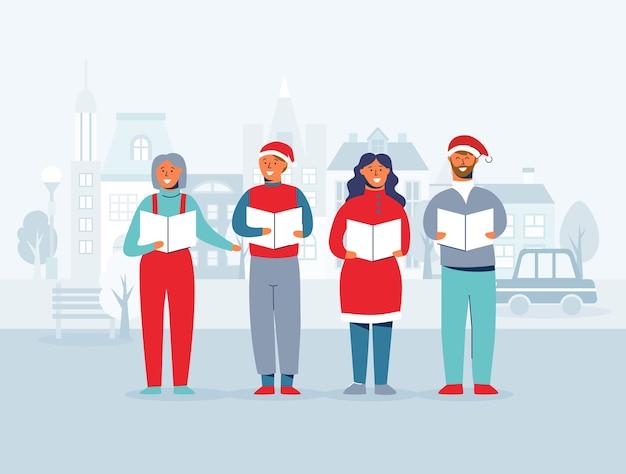 Gente allegra in cappelli della santa che canta i canti natalizi. caratteri di vacanze invernali su sfondo di paesaggio urbano. cantanti di natale.