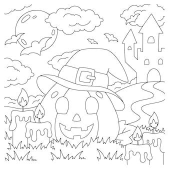 Zucca allegra con un cappello pagina del libro da colorare per i bambini tema di halloween