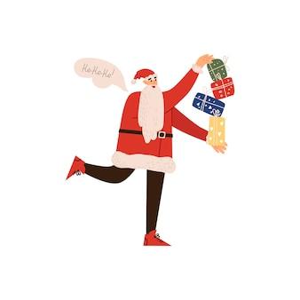 Babbo natale allegro porta i regali di capodanno illustrazione vettoriale isolato su uno sfondo bianco