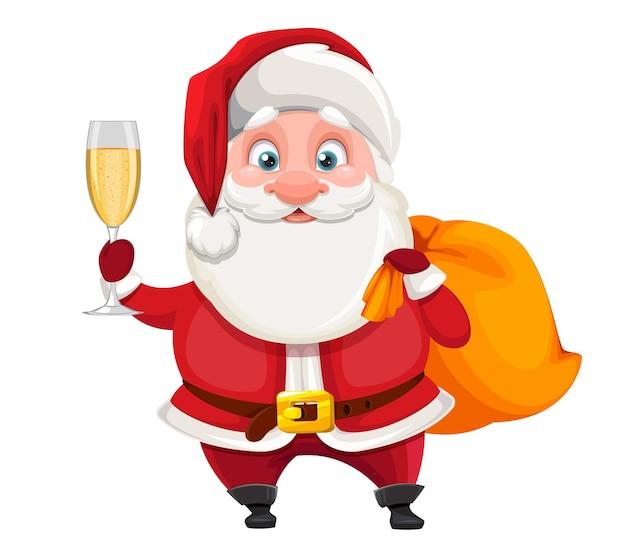 Allegro babbo natale con in mano un bicchiere di champagne