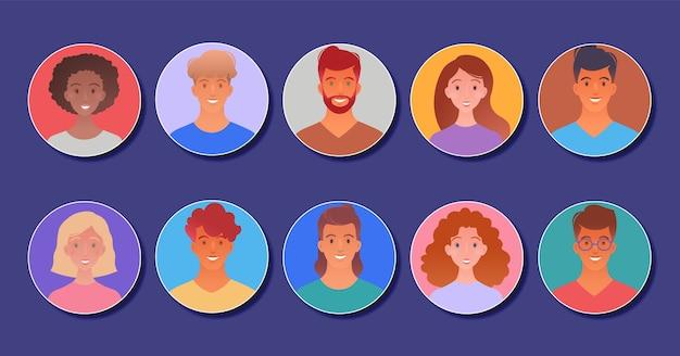 Icone del viso utente allegro con raccolta di avatar giovani adulti nel design del personaggio dei cartoni animati piatto