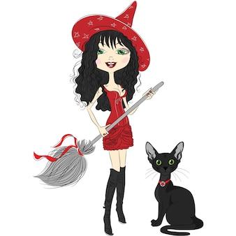 Ragazza strega allegra in cappello rosso a punta, vestito rosso, stivali neri, con scopa e gatto nero