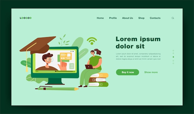 Donna allegra che studia su internet, guarda un webinar sul computer, segue un corso online. illustrazione per la conoscenza, l'istruzione, la pagina di destinazione del concetto di apprendimento a distanza