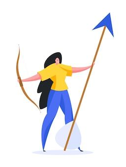 Donna allegra con arco e grande freccia sorridente