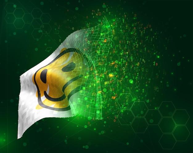 Bandiera 3d di vettore di sorriso giallo allegro su sfondo verde con poligoni e numeri di dati