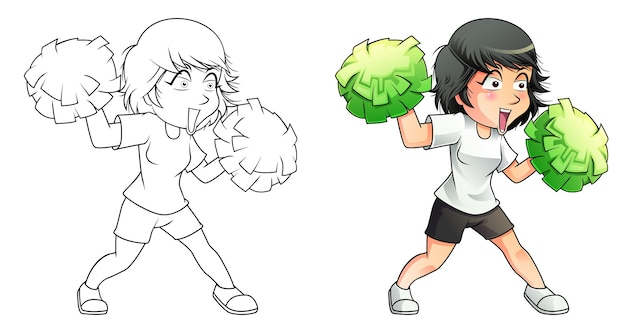 Pagina da colorare di cartoni animati cheerleader per bambini