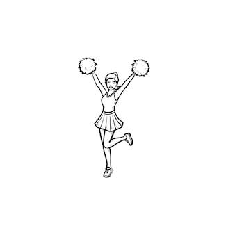 Ragazza cheerleader che salta con le mani in alto agitando pompon icona doodle contorni disegnati a mano concetto di cheerleader