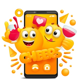 Saluti concetto adesivo. modello di app per smartphone con personaggi emoji gialli dei cartoni animati che bevono vino rosso.