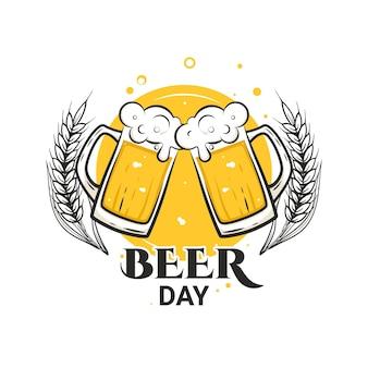 Saluti con boccali da birra giornata internazionale della birra agosto