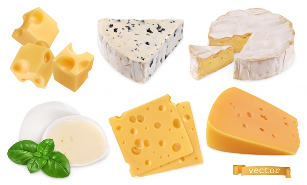 Oggetti vettoriali realistici di formaggio 3d, illustrazione del set di cibo
