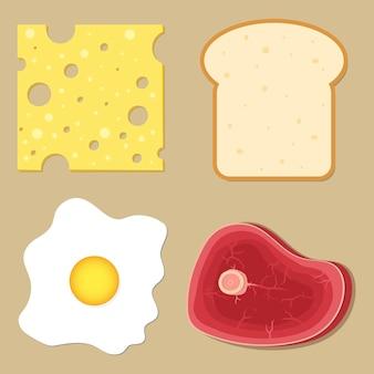 Formaggio, pane, uova strapazzate, piatto di carne, illustrazione in stile cartone animato