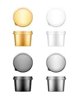 Contenitore rotondo per formaggio, burro o margarina con set di mockup con coperchio - vista frontale e dall'alto