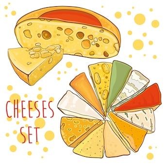 Raccolta di formaggi. illustrazione brillante con formaggi. impostato per .