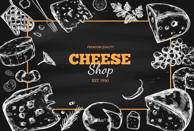 Raccolta di formaggi sulla lavagna