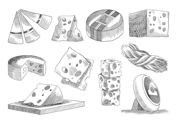 Collezione di formaggi. elementi di design alla moda per etichette di menu o poster per striscioni. alimenti freschi di burro di latte biologico. illustrazione di schizzo di vettore in stile disegnato a mano.