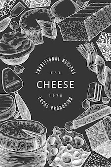 Modello struttura formaggio. illustrazione di latticini disegnati a mano sulla lavagna. banner di diversi tipi di formaggio stile inciso. sfondo di cibo vintage.