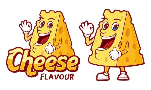 Illustrazione di sapore di formaggio, con carattere divertente per vari prodotti alimentari