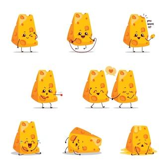 Mascotte del fumetto del carattere dell'illustrazione del formaggio