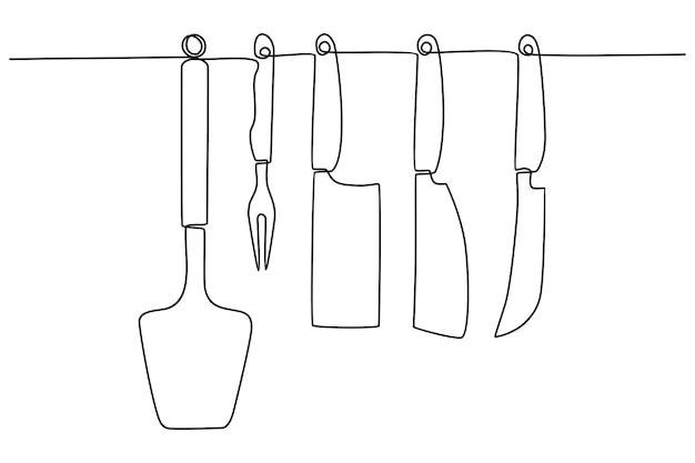 Coltello da formaggio disegno a tratteggio continuo illustrazione vettoriale