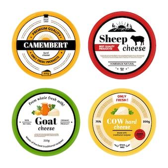 Etichetta di formaggio. etichetta di prodotti lattiero-caseari mucca capra pecora con marchio, modello di progettazione di prodotti lattiero-caseari. etichette vettoriali arrotondate per il confezionamento di set isolati di formaggio naturale