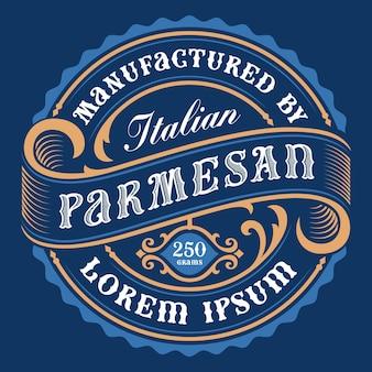 Un'etichetta di formaggio in stile vintage, tutti gli elementi nel design sono nel gruppo separato e modificabili.