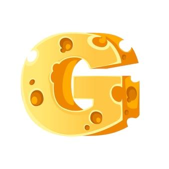 Formaggio lettera g style cartoon food design piatto illustrazione vettoriale isolati su sfondo bianco.