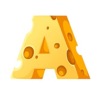 Lettera di formaggio a stile fumetto cibo design piatto illustrazione vettoriale isolato su sfondo bianco.