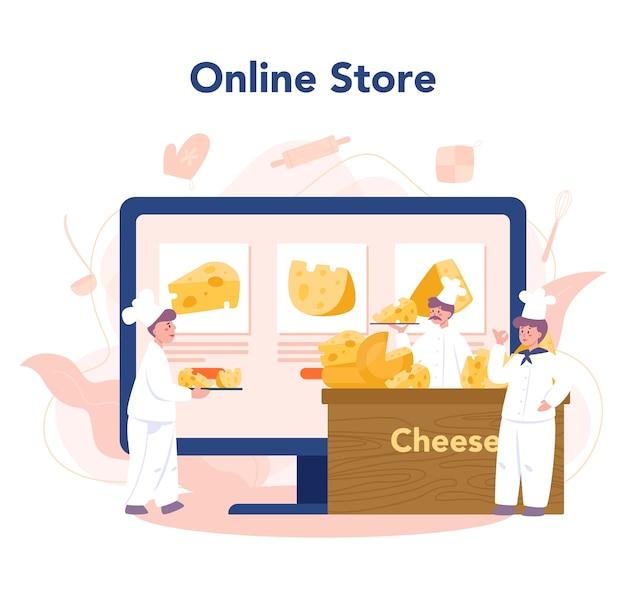Servizio o piattaforma online di concetto di caseificio. chef professionista che fa il blocco di formaggio. negozio online. illustrazione vettoriale isolato