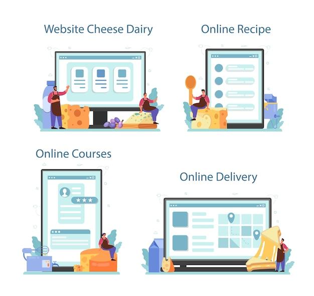 Servizio online di caseificio o set di piattaforme.