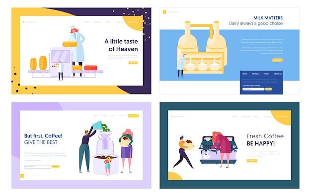Set di modelli di pagina di destinazione del sito web di produzione di formaggio e prodotti lattiero-caseari, frittura e produzione di caffè.