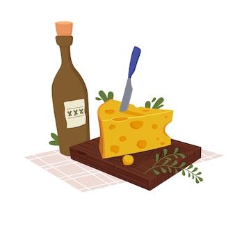 Formaggio su una tavola con una bottiglia di vino