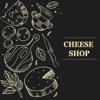 Concetto di prodotti di formaggio. modello per menu, flyer, banner su sfondo nero.