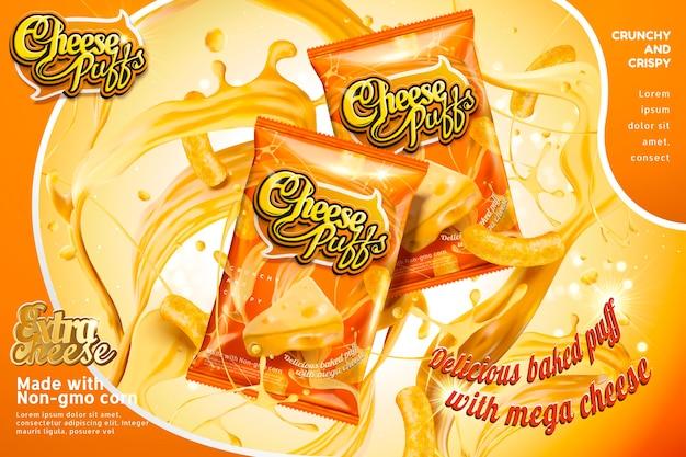 Confezione di bignè al formaggio con spruzzi di ingredienti, tonalità arancione
