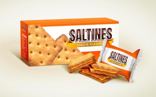 Design del pacchetto di salatini al formaggio, scatola di carta con sacchetto di plastica per biscotti in illustrazione 3d